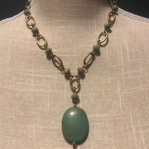 LIa Sophia turquoise and gold necklace.